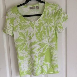 Chico's Top Lime and White palm design Size 0